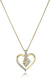 Amazon Collection Diamond 3 Stone Pendant Necklace (1/4 cttw), 18""