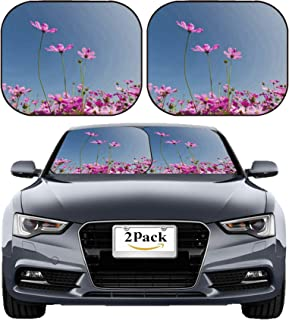 MSD Car Sun Shade Windshield Sunshade Universal Fit 2 Pack, Block Sun Glare, UV and Heat, Protect Car Interior, Image ID: 35104836 Pink Daisy Flower in The Garden Against Blue Sky