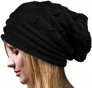 HANANei Women Winter Fluff Crochet Hat Wool Knit Beanie Warm Caps