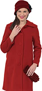 Coat Man Single Breasted Button to Neck 7/8 Length Coat with Slight Swing