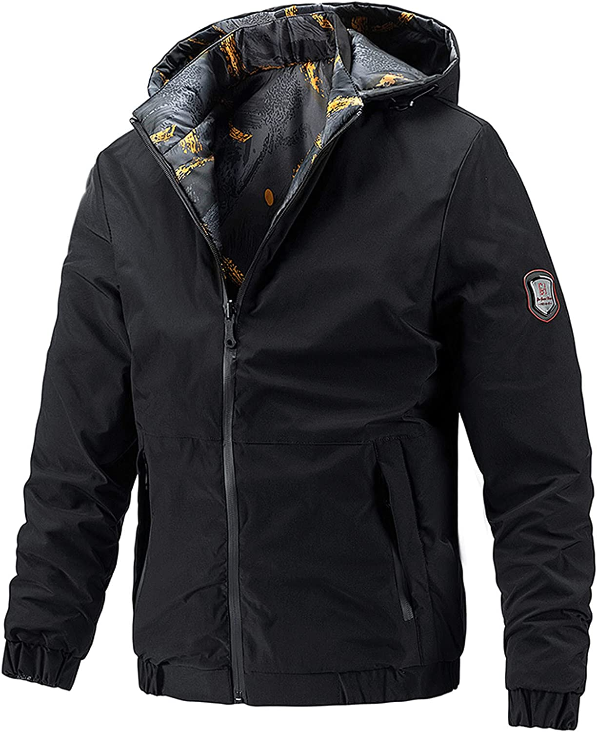 Men Casual Autumn&Winter Wear On Both Sides Pockets Coats Hooded Blouse Jacket