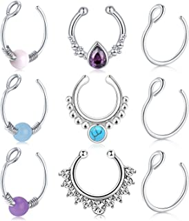 AceFun Fake Nose Ring Hoop Faux Septum Nose Rings Faux Fake Lip Septum Ring Non-Pierced Clip On Face Nose Ear Rings