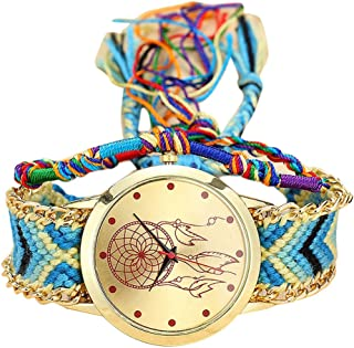 Women's Native Handmade Vintage Casual Quartz Stainless Steel Dream Catcher Friendship Watches Gift ODGear Clearance