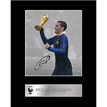 Cadeau #2/- Avec autographe Photo imprim/ée /Équipe de France de la Coupe du monde de football Photo d/édicac/ée et mont/ée dAntoine Griezmann