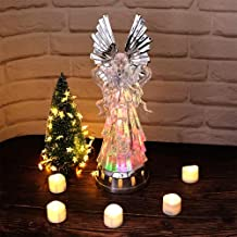 DRomance Color Changing Angel Globe, Swirling Glitter Angel Lamp Mood Light, LED Light Up Angel Battery Operated Angel Light, 14 Inch Tall Trumpet Angel