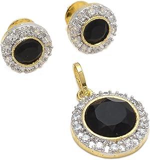 Geode Delight Black Stone Gold Plated American Diamond Pendant Set