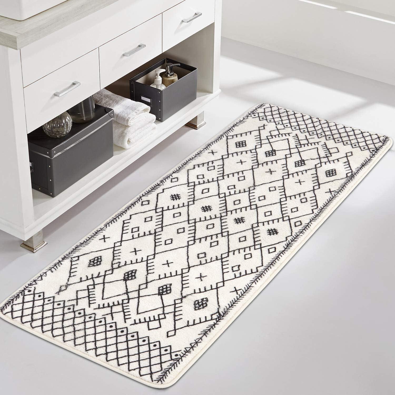 Uphome Extra Long Bath Rug Runner Moroccan Modern Geometric Velvet ...
