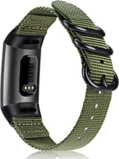 Fintie Bands for Fitbit Charge 3,  Soft Woven Nylon Sports Band Replacement Strap for Fitbit Charge 3 and Charge 3 SE Fitness Activity Tracker Women Men (Olive)