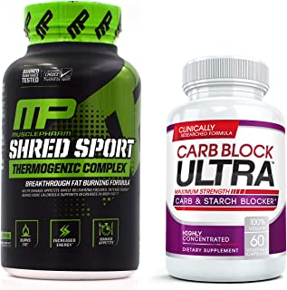 Shred Sport (60 Capsules) & Carb Block Ultra (60 Capsules) - Professional Strength Fat Burning, Weight Loss Package. Double Your Results!