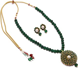 c25db18875 Simaya Fashionista New Fashion Green Colour Pachi Pearl Necklace Set With  Tops Earring For Girls &