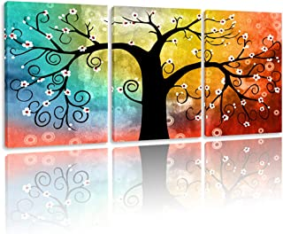 BPAGO Abstract Paintings Lucky Tree Canvas Paintings 3 Panels Framed Modern Paintings giclee Canvas Home Decor Wall Art Ready to Hanging (60 x 28 inch