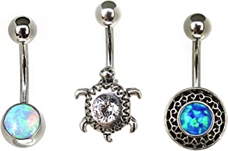 Hailey.L 3Pcs Set 14G Belly Button Rings 316L Surgical Steel Created Opal CZ Curved Barbell Body Jewelry