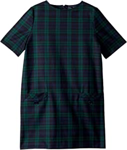 Short Sleeve Shift Plaid Dress (Little Kids/Big Kids)