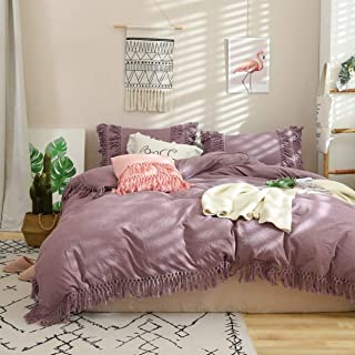 Softta California King Bedding 3 Pcs Boho Duvet Cover Purple Fringed Vintage and ShabbyTassel Ruffle Bohemian Quilt Cover 100% Washed Cotton with Zipper Ties