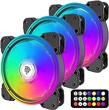 EasySMX RGB Case Fans, 3 Pack 120mm Quiet Computer Cooling PC Fans, PWM Control for Computer Case, 5V ARGB Addressable Mot...