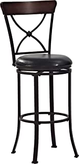 Crosley Furniture Pruitt Swivel Bar Stool, 30-inch, Black with Black Cushion