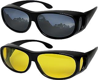 241b13cf24d Fit Over Sunglasses Polarized Lens Wear Over Prescription Eyeglasses 100%  UV Protection for Men and