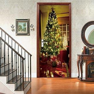 FDASLJ Adesivi per Porte Porta 95x215CM Vacanza Regalo Albero di Natale Adesivo per Porta PVC Decorazioni per La Casa Deca...