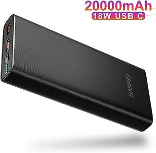 BANNIO Powerbank 20000mAh, 18W USB C Power Delivery Bateria Externa Power Bank con 2 Entrada y 3 Salida,Ultra Capacidad PD Bateria Portatil para Movil para iPhone,iPad, Samsung,Huawei,Xiaomi y Más