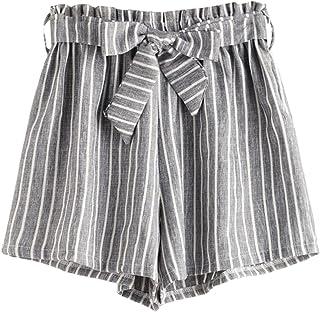 MAKEMECHIC Women's Casual Striped Elastic Waist Self Tie Shorts