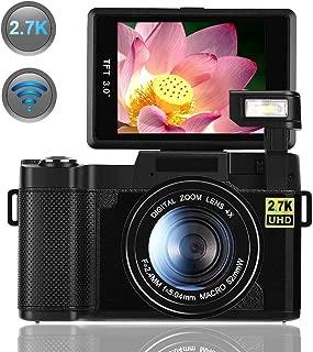 Digital Camera,Vlogging Camera for YouTube 2.7K 24.0MP Ultra HD WiFi Camera 3.0 Inch 180 Degree Rotation Flip Screen (Black)
