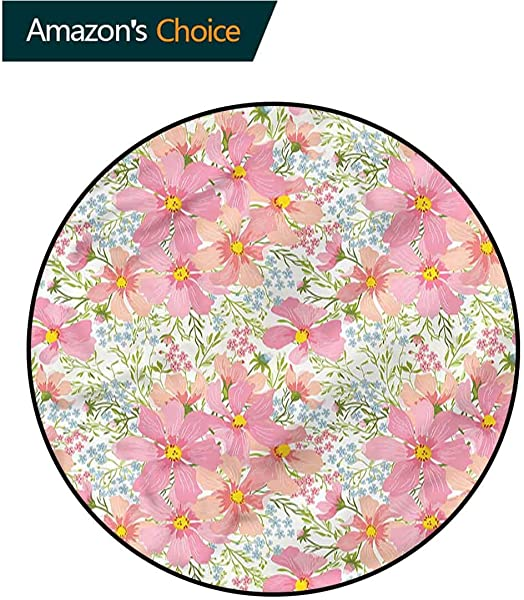RUGSMAT Pale Pink Machine Washable Round Bath Mat Colorful Summer Meadow Home Decor Area Rug Round 31