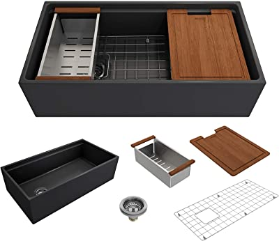 BOCCHI 1505-020-0120 Contempo Workstation Apron Front Step Rim Fireclay 36 in. Single Bowl Kitchen Sink with Accessories in Matte Dark Gray