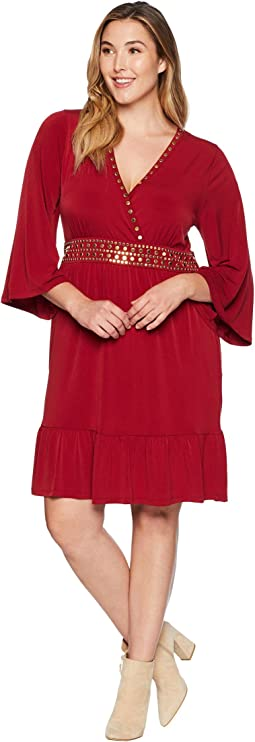 Plus Size Hardware Deep Vee Dress