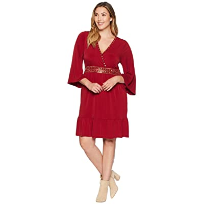 MICHAEL Michael Kors Plus Size Hardware Deep Vee Dress (Maroon) Women