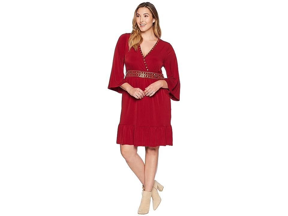 MICHAEL Michael Kors Plus Size Hardware Deep Vee Dress (Maroon) Women