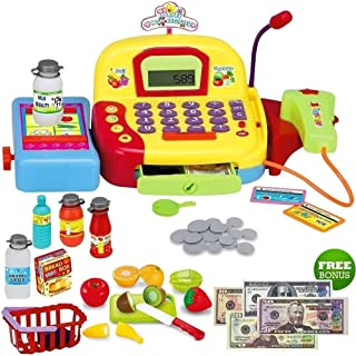 FUNERICA Play Cash Register Toy for Kids - with Working Microphone, Scanner, Calculator, Pretend Play Food Toys, Cuttable Fruits, Cashier Toy, Play Money, & Grocery Toys