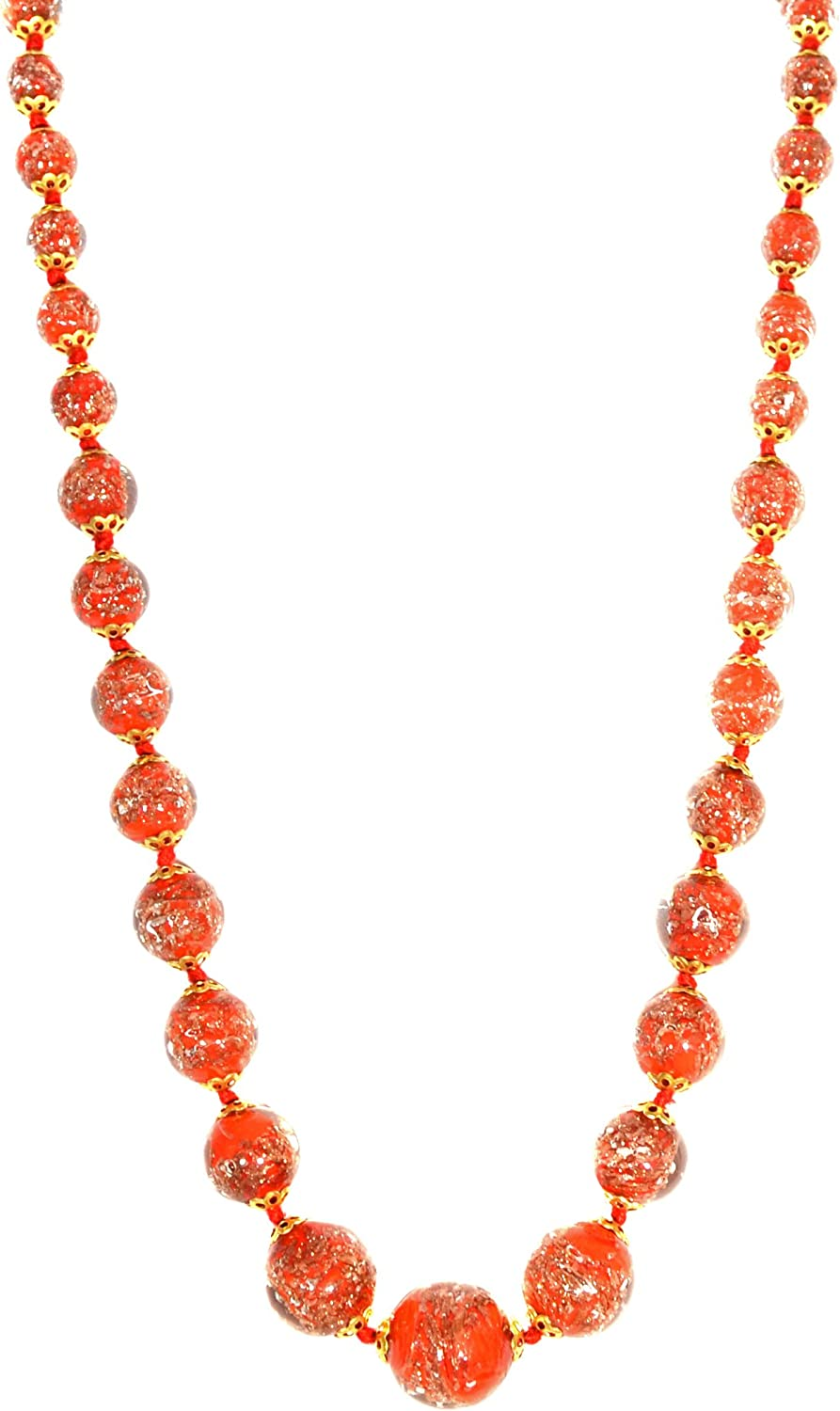 Just Give Me Jewels Venice Graduated Murano Sommerso Aventurina Glass Bead Strand Necklace in Red, 19+2