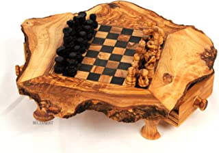 BeldiNest Olive Wood Chess Set, Handcrafted Wooden Chess Game Board S6x6