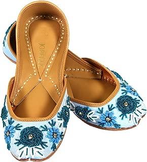 JOPELLE The Bluestar Sky Flower Handcrafted Leather Hand-Embroidered Sky Blue Punjabi Juttis Mojari for Women