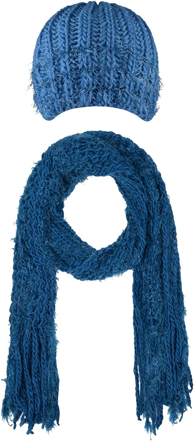 CEAJOO Women's Knit Scarfs and Hat Set Winter Warm with Fringe