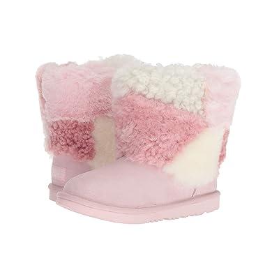 UGG Kids Classic Short Patchwork Fluff (Little Kid/Big Kid) (Baby Pink) Girls Shoes