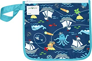 green sprouts Insulated Reusable Snack Bag | Keeps Food Fresh | Insulated Layer, Food-Safe, Waterproof & Easy-Clean Material, Aqua Pirate