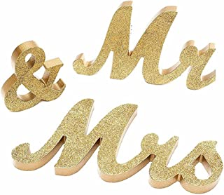 AceAcr Vintage Style Wooden Mr & Mrs Letters Sign DIY Decor for Wedding Decoration Table Decor Wedding Gift Gold