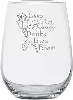 Beauty Beast - Looks Like a Beauty, Drinks Like a Beast - Funny Disney Princess Wine Glass Birthday Gifts - Adult Disney Lover - Best Friend Gift - Belle Rose Movie Themed - Stemless Wine Glass