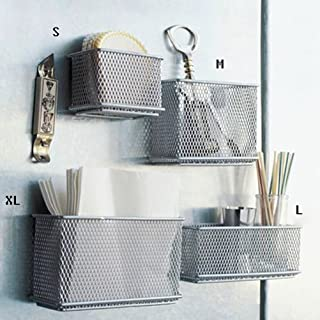 Exttlliy Sturdy Metal Mesh Magnetic Storage Basket Container for Whiteboard/Refrigerator/Magnetic Surface, Office Home Supply Organizer (S+M+L+XL)