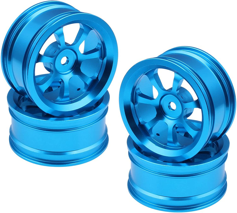 4Pcs 1.02  Aluminum Wheel Rims 12mm Hex Hub Diameter 52mm CNC bluee for Redcat HSP HPI RC 1 10 On Road Racing Car