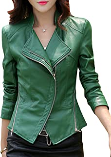 Women's Short Slim Slant Zip Faux Leather Moto Jacket Multiple Colors