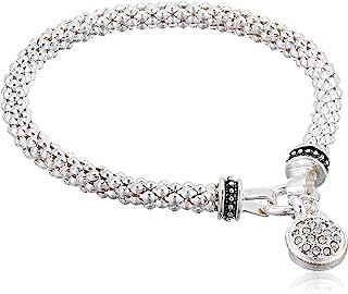 Women's Silvertone Crystal Pave Circle Stretch Bracelet