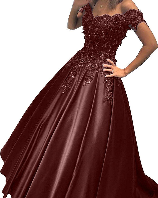 LISA.MOON Women's Off Shoulder Laceup Sleeveless Satin Beading Evening Dresses