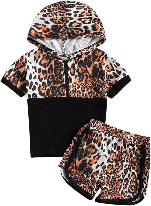 Nie Cuimeiwan Toddler Newborn Baby Girl Boy Clothes Short Sleeve Leopard Half Zip Hoodie+Short Set Summer Outfit 2Pcs
