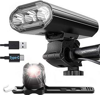 Victagen - Luces de bicicleta superbrillantes 2400 lúmenes 3 luces LED delanteras y traseras, linterna recargable USB tipo...