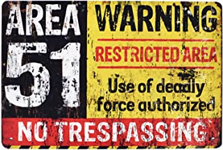 Flytime Area 51 No Trespassing Military Retro Vintage Metal Tin Sign Coffee Bar Wall Decor Home Signs Gift Size 12 X 8 Inches