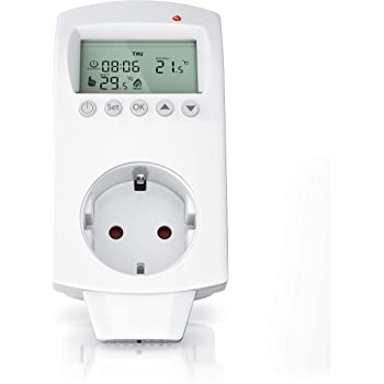 Thermostat digital - Steckdosenthermostat - Steckdosen Thermostat für Heizung Heizgeräte Infrarotheizung Kühlgeräte - programmierbar - Anti-Frost-Modus - Weiß - benutzeroptimierte Anleitung