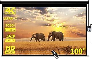 """PANTALLA DE PROYECCION NEGRA ELECTRICA 100"""" (2.54 Metros), Formato HD 16:9, Gain 1.3, 3D-4K Ready, Control Remoto"""