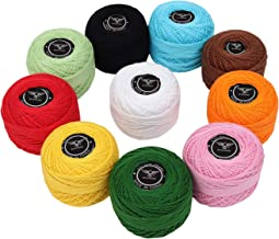 Crochet Thread (10 Pack) Cotton Yarn Threads Balls - 213 Yards Plain Design Assorted Colors - Pearl Cotton Crochet Yarn Cr...